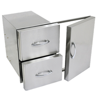 Stainless steel double drawer and single door